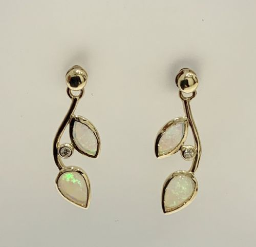 Round Opal And Diamond Gold Drop Earrings